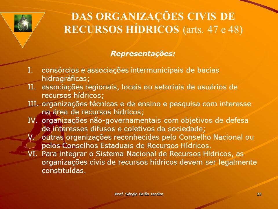 DAS ORGANIZAÇÕES CIVIS DE RECURSOS HÍDRICOS (arts. 47 e 48)