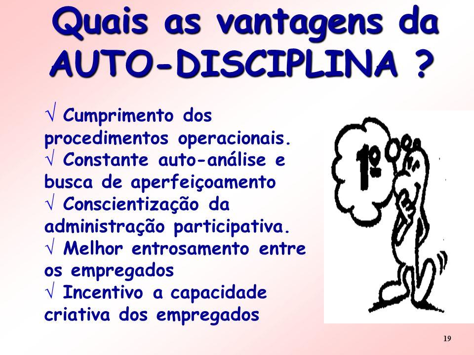 Quais as vantagens da AUTO-DISCIPLINA