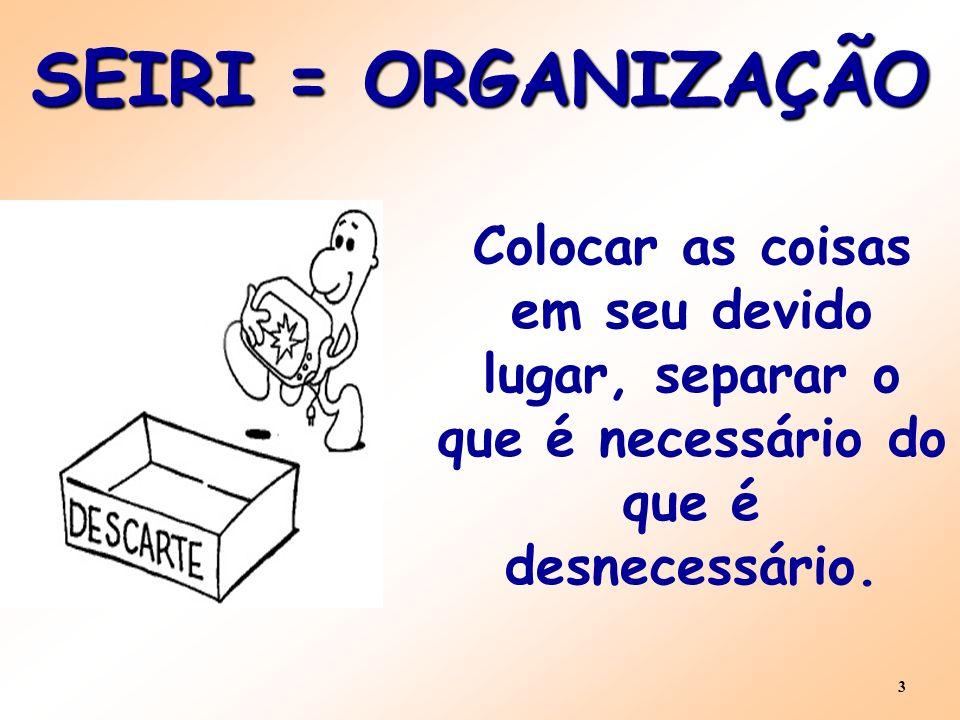 SEIRI = ORGANIZAÇÃO Colocar as coisas em seu devido lugar, separar o que é necessário do que é desnecessário.