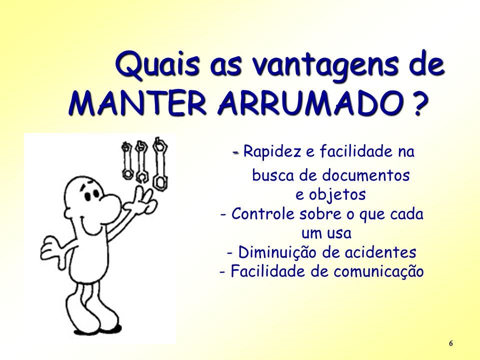 Quais as vantagens de MANTER ARRUMADO