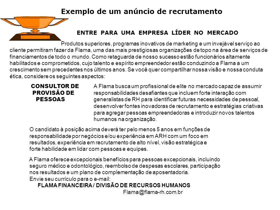 Exemplo de um anúncio de recrutamento