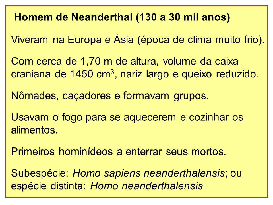 Homem de Neanderthal (130 a 30 mil anos)