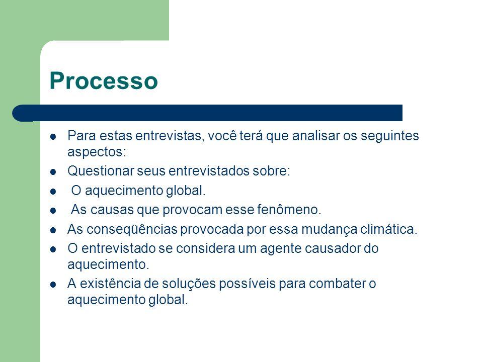 ProcessoPara estas entrevistas, você terá que analisar os seguintes aspectos: Questionar seus entrevistados sobre: