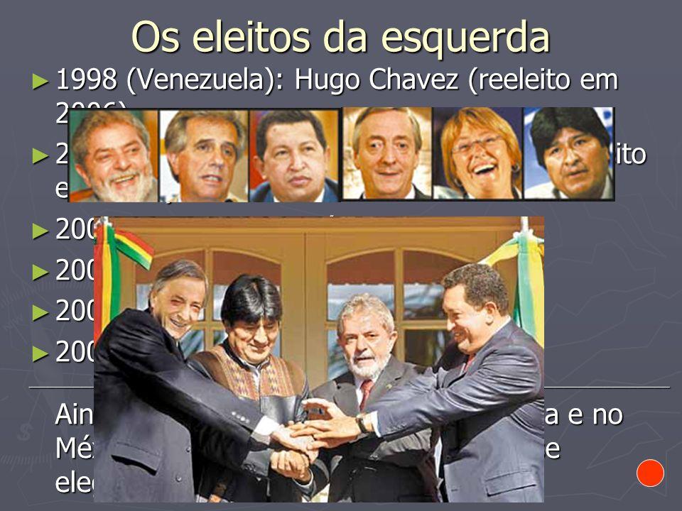 Os eleitos da esquerda1998 (Venezuela): Hugo Chavez (reeleito em 2006) 2002 (Brasil): Luiz Inácio Lula da Silva (reeleito em 2006)