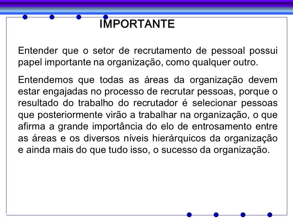 IMPORTANTE Entender que o setor de recrutamento de pessoal possui papel importante na organização, como qualquer outro.