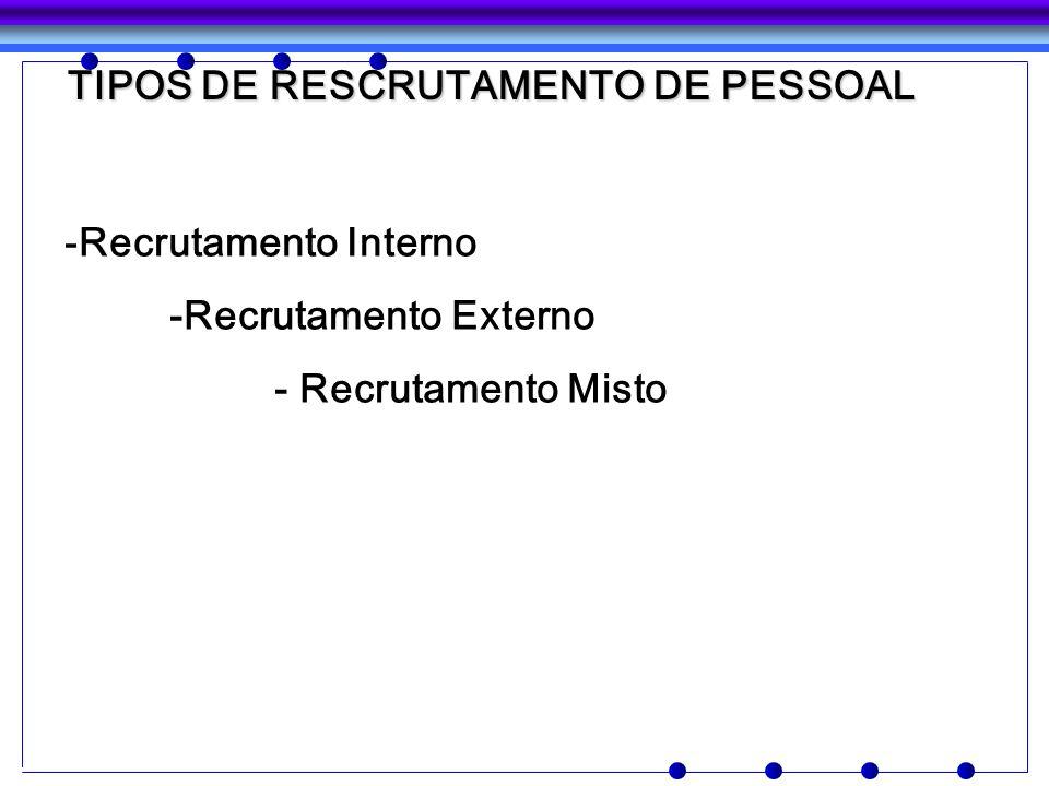 TIPOS DE RESCRUTAMENTO DE PESSOAL