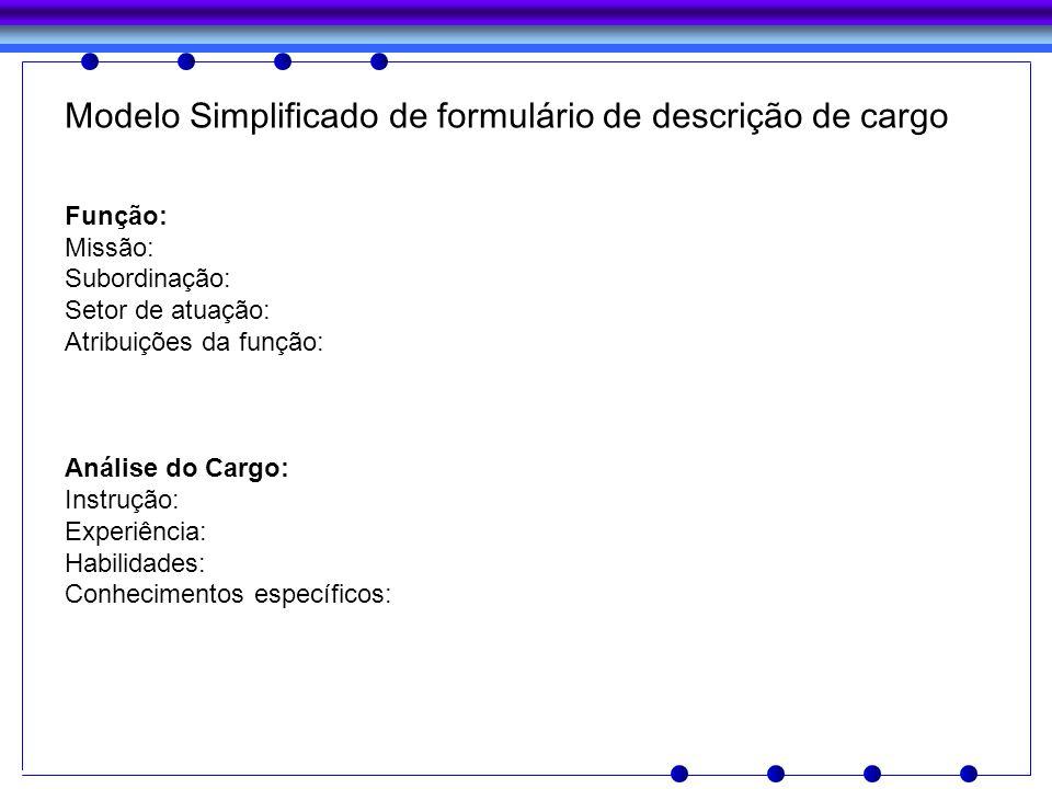 Modelo Simplificado de formulário de descrição de cargo