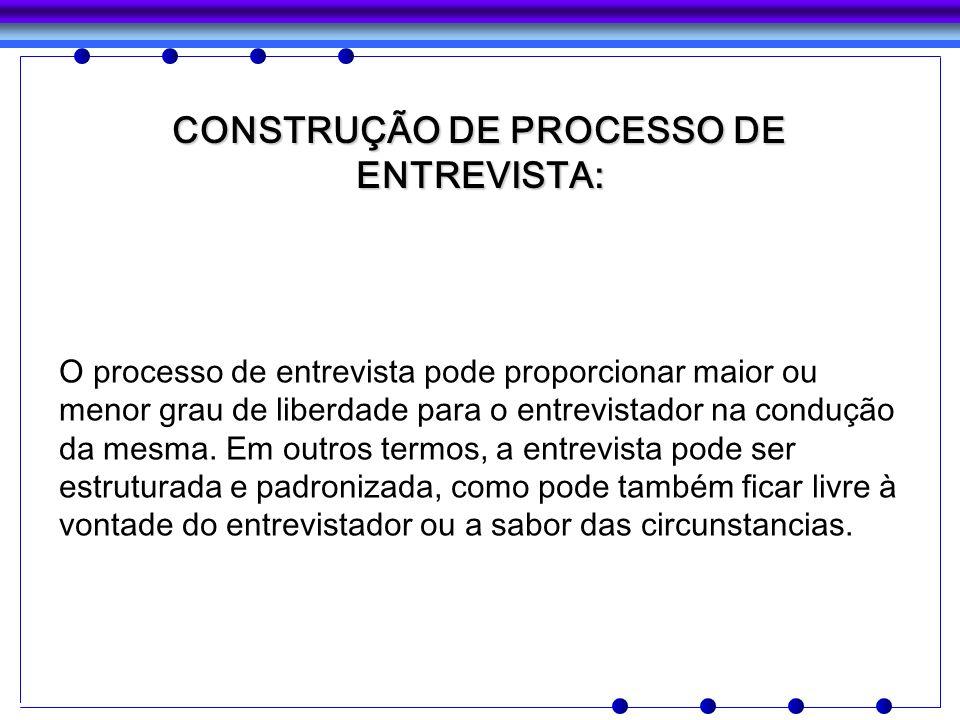 CONSTRUÇÃO DE PROCESSO DE ENTREVISTA: