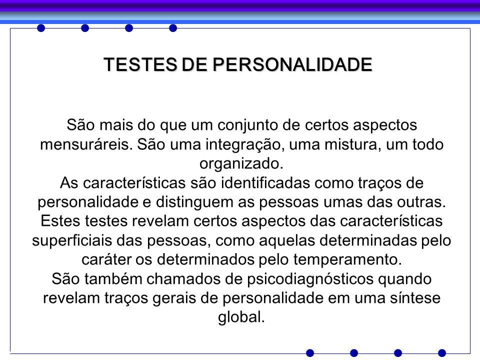 TESTES DE PERSONALIDADE