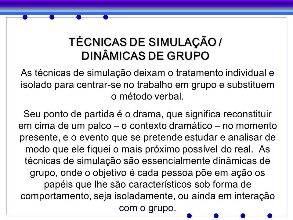 TÉCNICAS DE SIMULAÇÃO / DINÂMICAS DE GRUPO