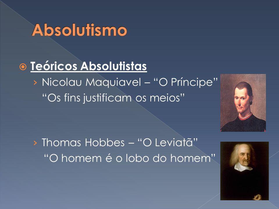 Absolutismo Teóricos Absolutistas Nicolau Maquiavel – O Príncipe