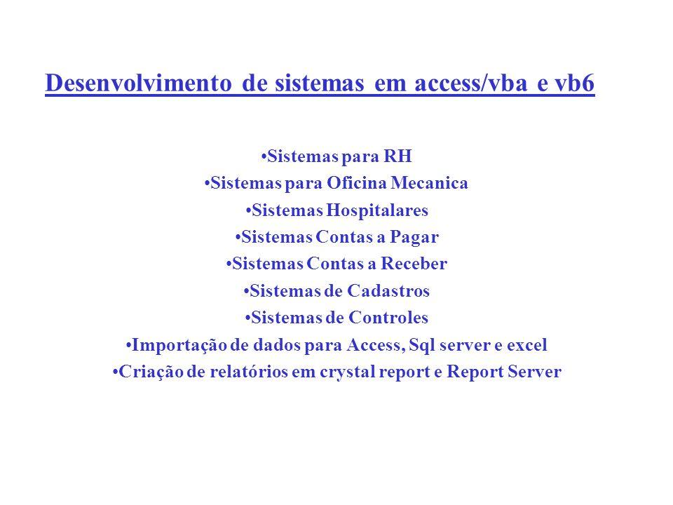 Desenvolvimento de sistemas em access/vba e vb6