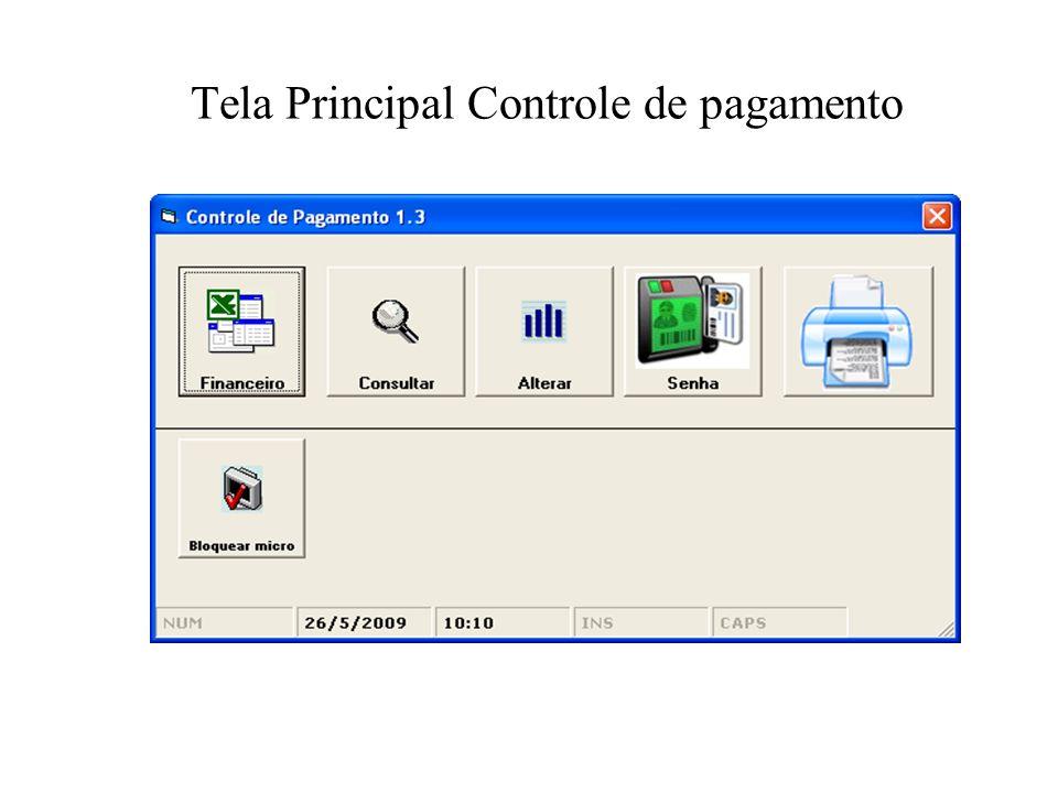 Tela Principal Controle de pagamento