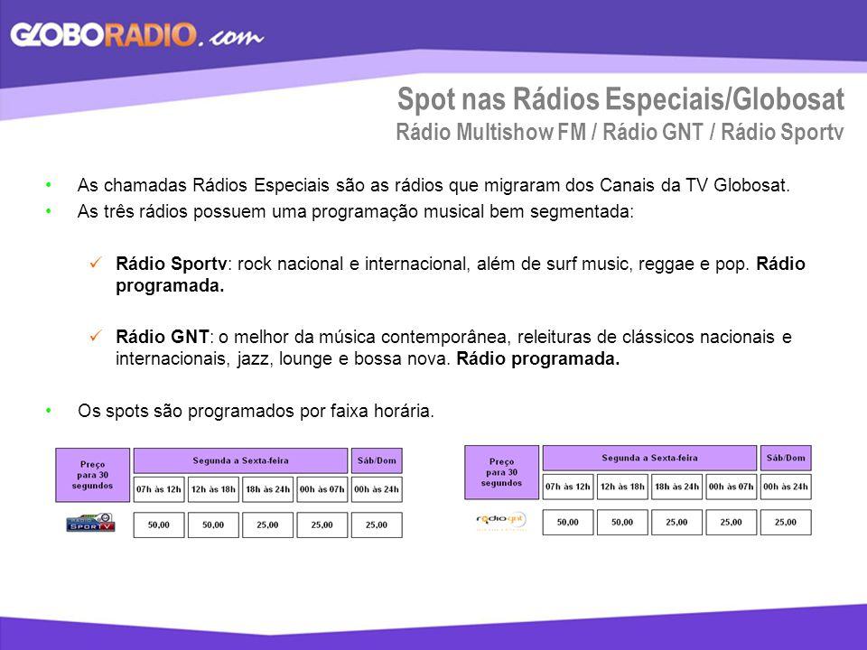 Spot nas Rádios Especiais/Globosat Rádio Multishow FM / Rádio GNT / Rádio Sportv