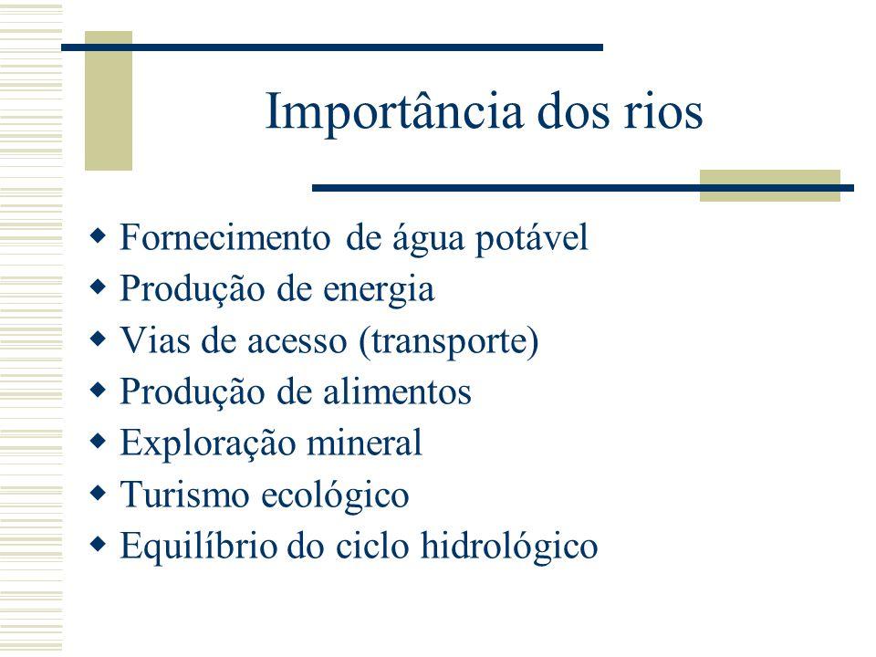 Importância dos rios Fornecimento de água potável Produção de energia