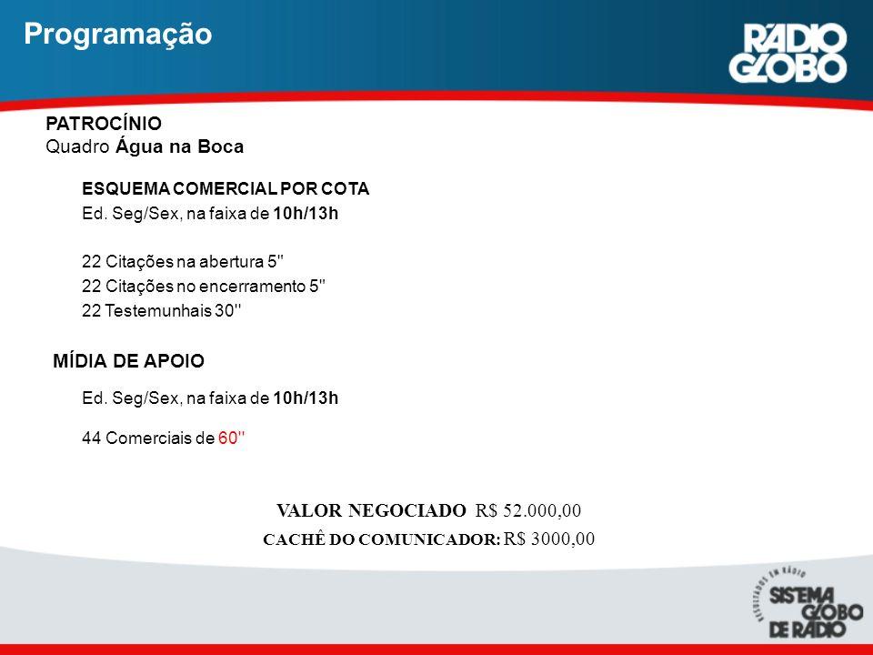 CACHÊ DO COMUNICADOR: R$ 3000,00