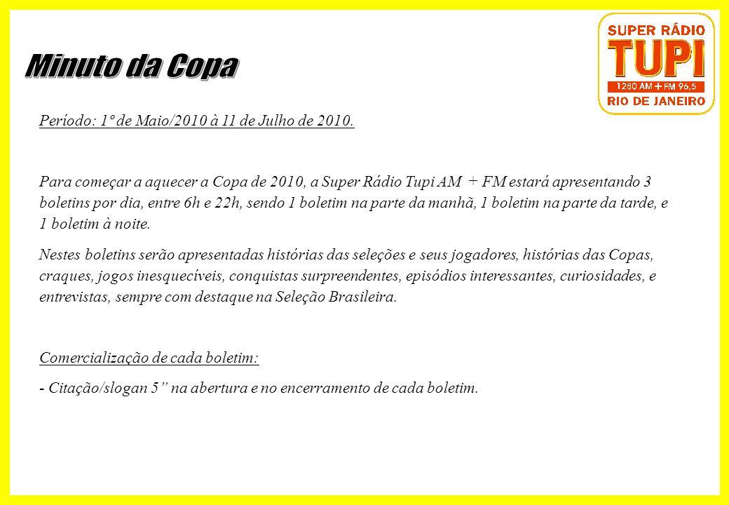 Minuto da Copa Período: 1º de Maio/2010 à 11 de Julho de 2010.