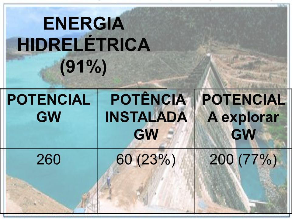 ENERGIA HIDRELÉTRICA (91%)