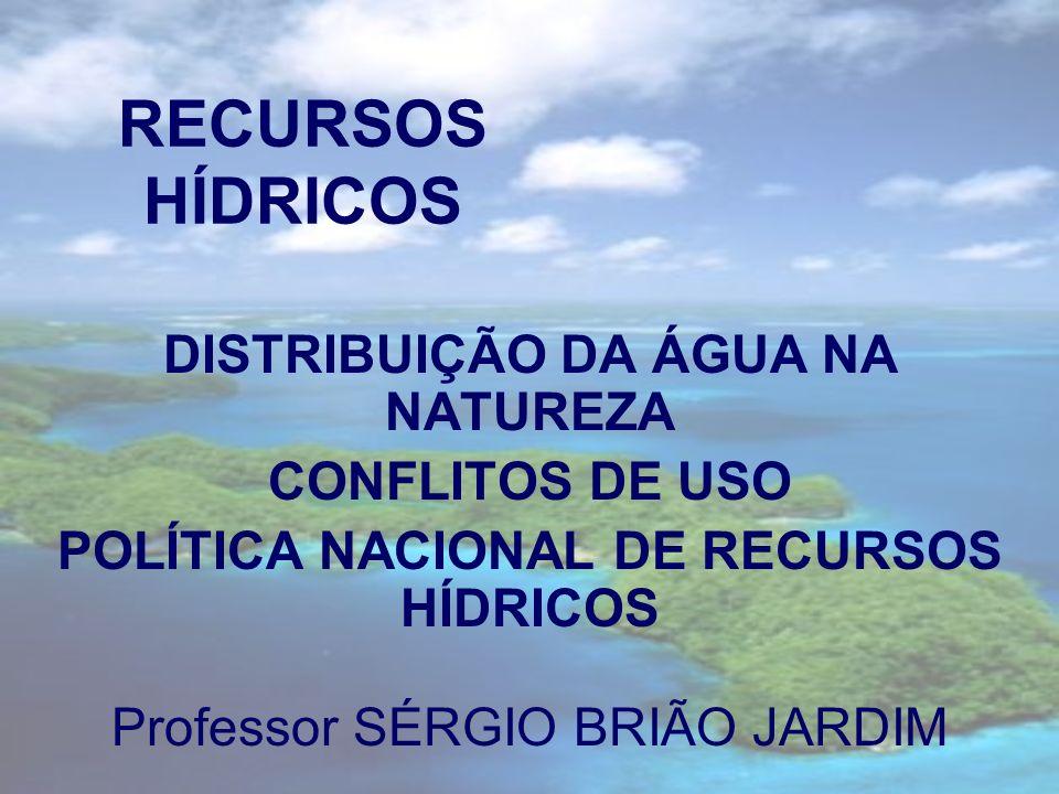 RECURSOS HÍDRICOS DISTRIBUIÇÃO DA ÁGUA NA NATUREZA CONFLITOS DE USO