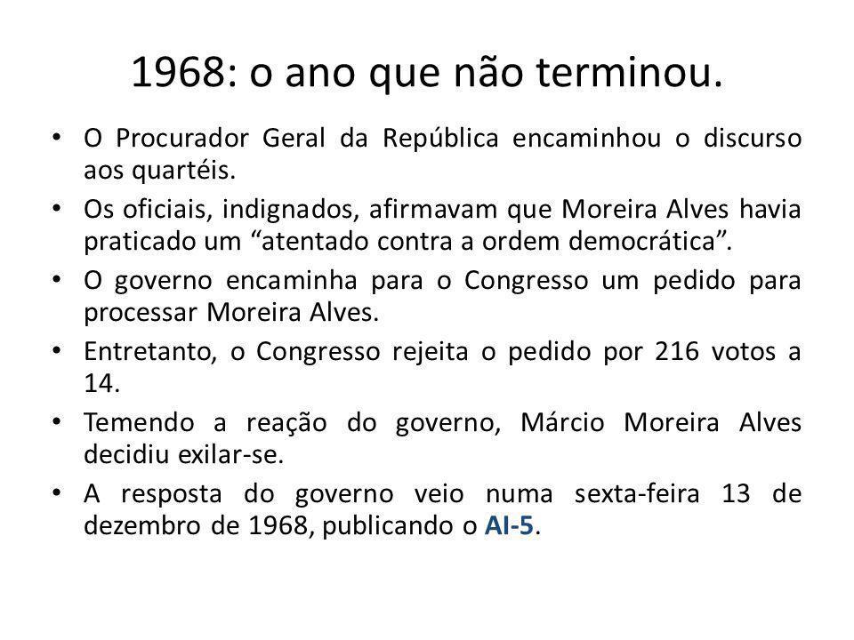 1968: o ano que não terminou.O Procurador Geral da República encaminhou o discurso aos quartéis.