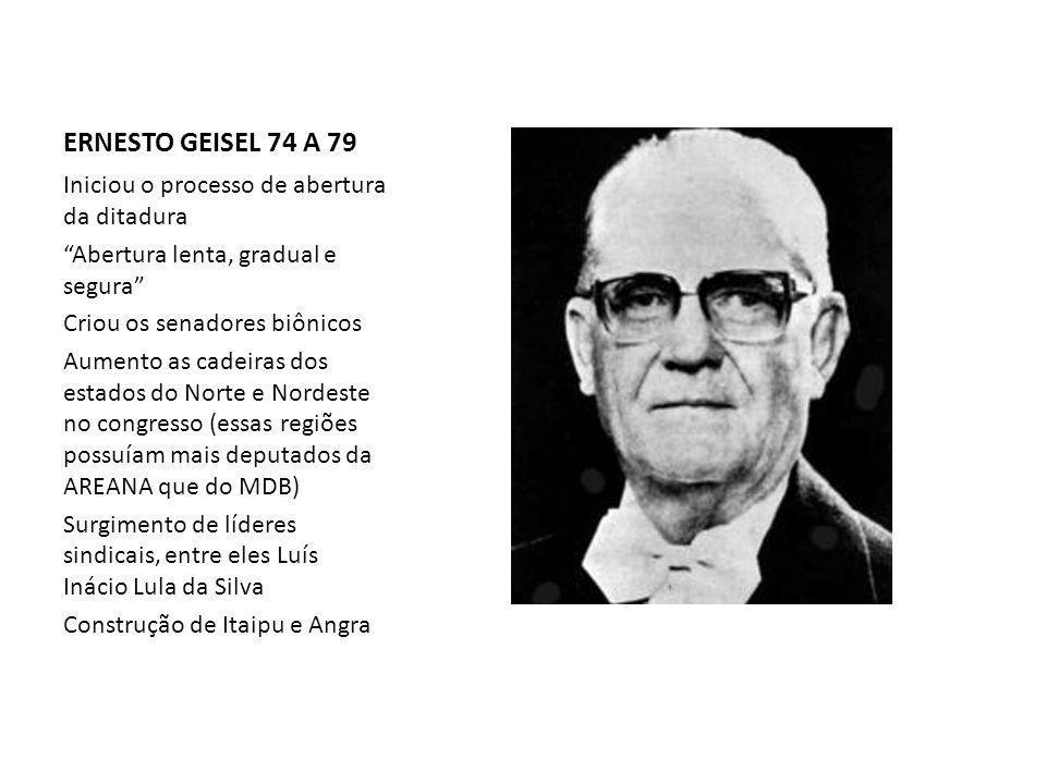 ERNESTO GEISEL 74 A 79 Iniciou o processo de abertura da ditadura