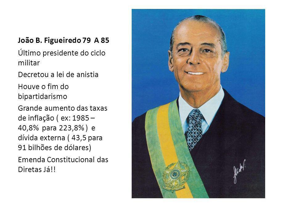 João B. Figueiredo 79 A 85Último presidente do ciclo militar. Decretou a lei de anistia. Houve o fim do bipartidarismo.