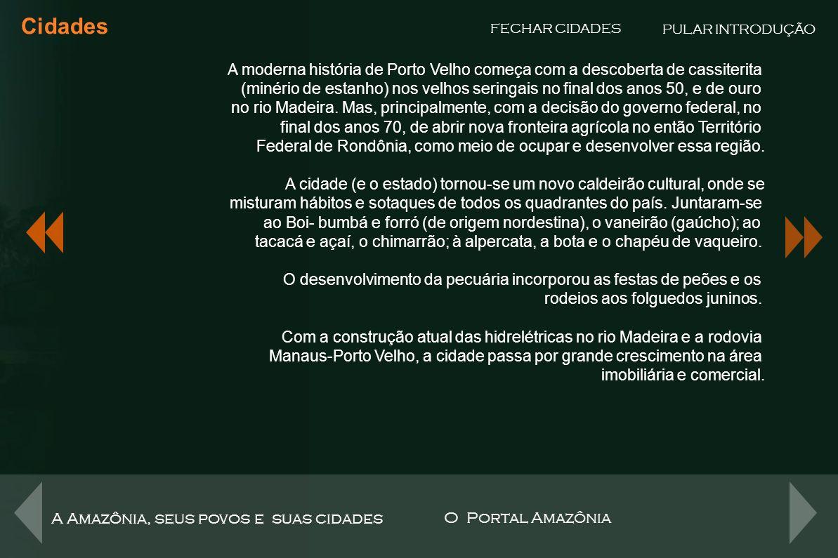 Cidades PULAR INTRODUÇÃO. FECHAR CIDADES. A moderna história de Porto Velho começa com a descoberta de cassiterita.