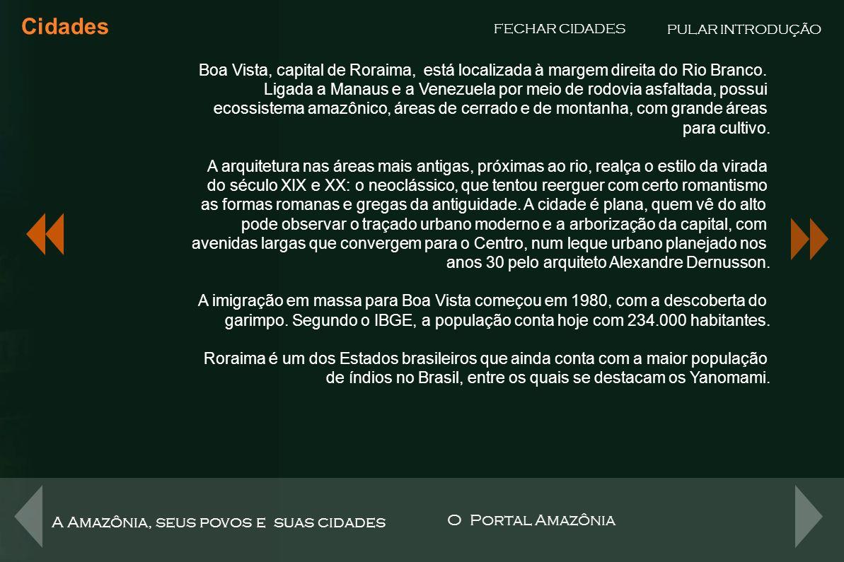 Cidades PULAR INTRODUÇÃO. FECHAR CIDADES. Boa Vista, capital de Roraima, está localizada à margem direita do Rio Branco.