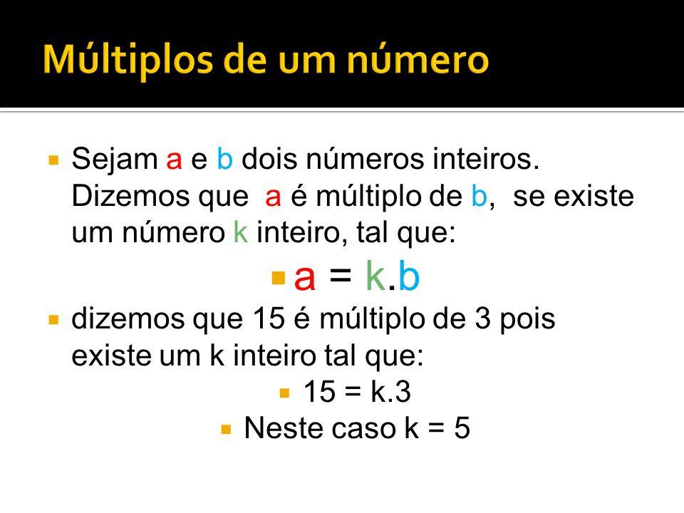Múltiplos de um número a = k.b