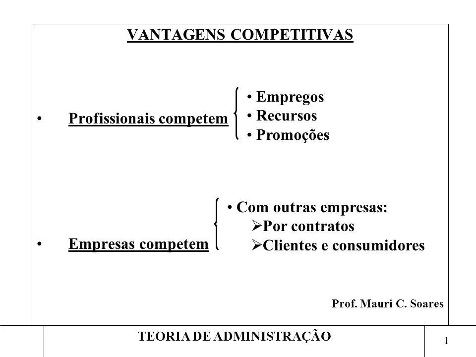 VANTAGENS COMPETITIVAS TEORIA DE ADMINISTRAÇÃO