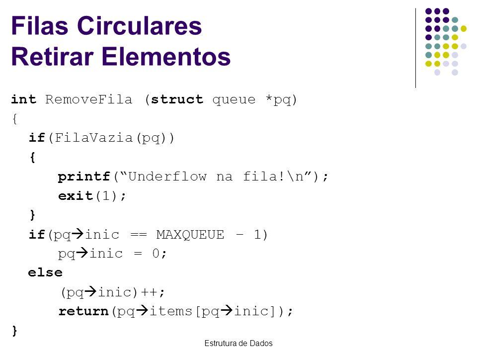 Filas Circulares Retirar Elementos