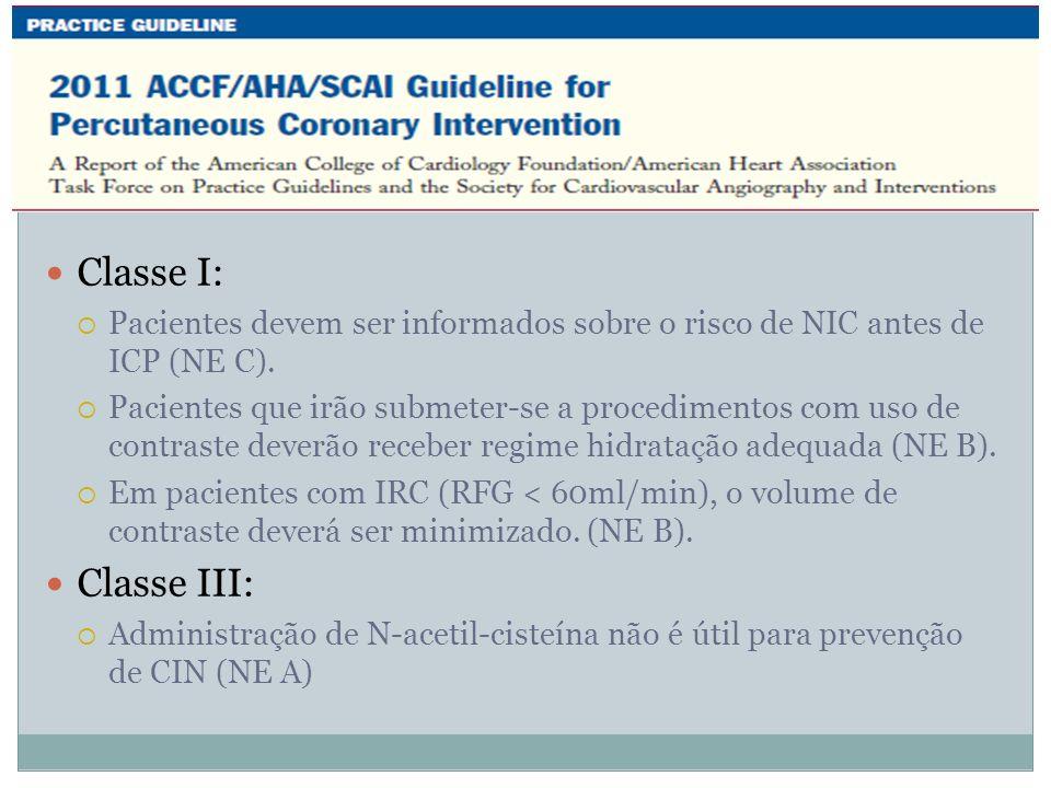 Classe I:Pacientes devem ser informados sobre o risco de NIC antes de ICP (NE C).