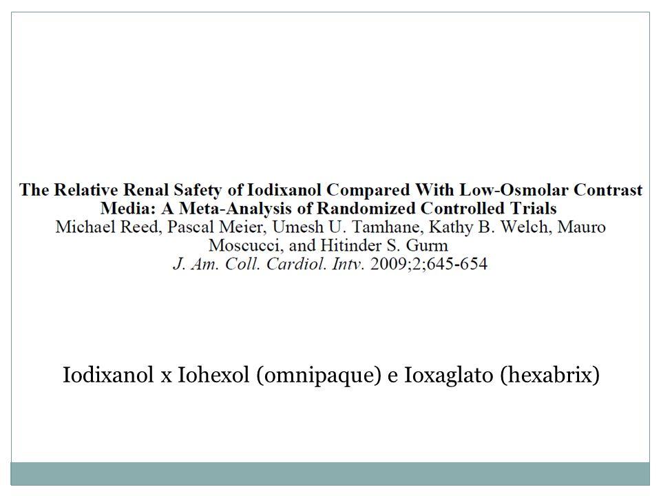 Iodixanol x Iohexol (omnipaque) e Ioxaglato (hexabrix)