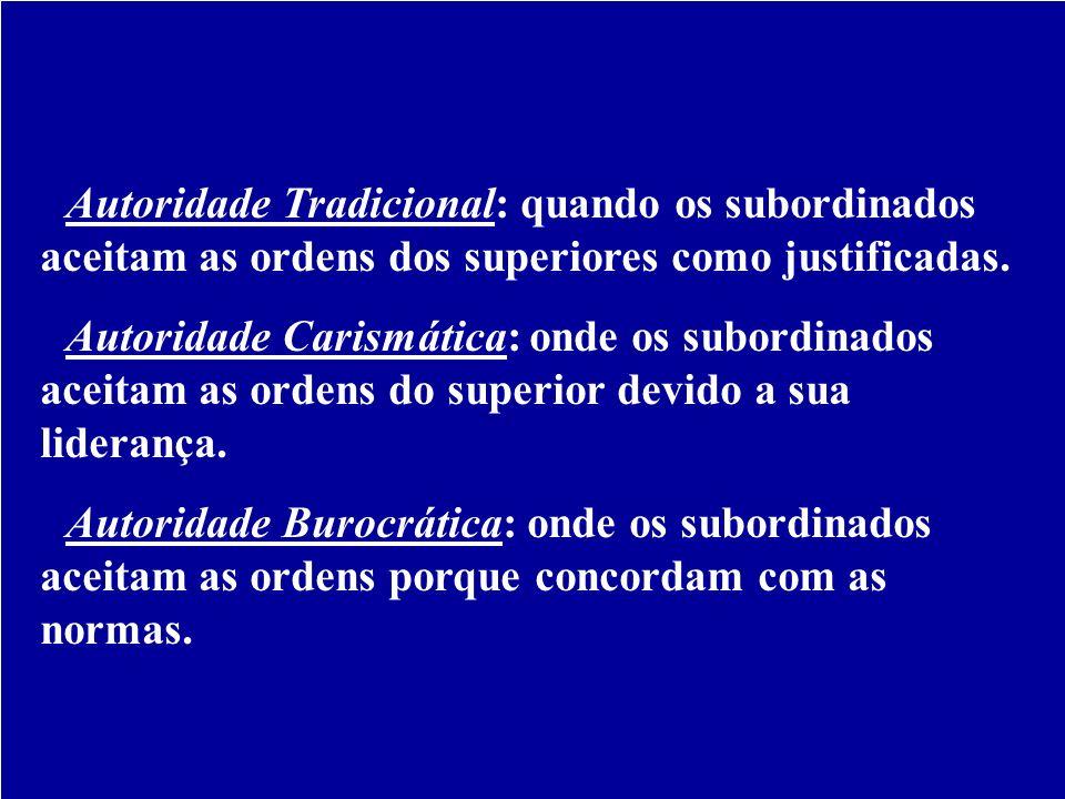 Tipos de Autoridade - Autoridade Tradicional: quando os subordinados aceitam as ordens dos superiores como justificadas.