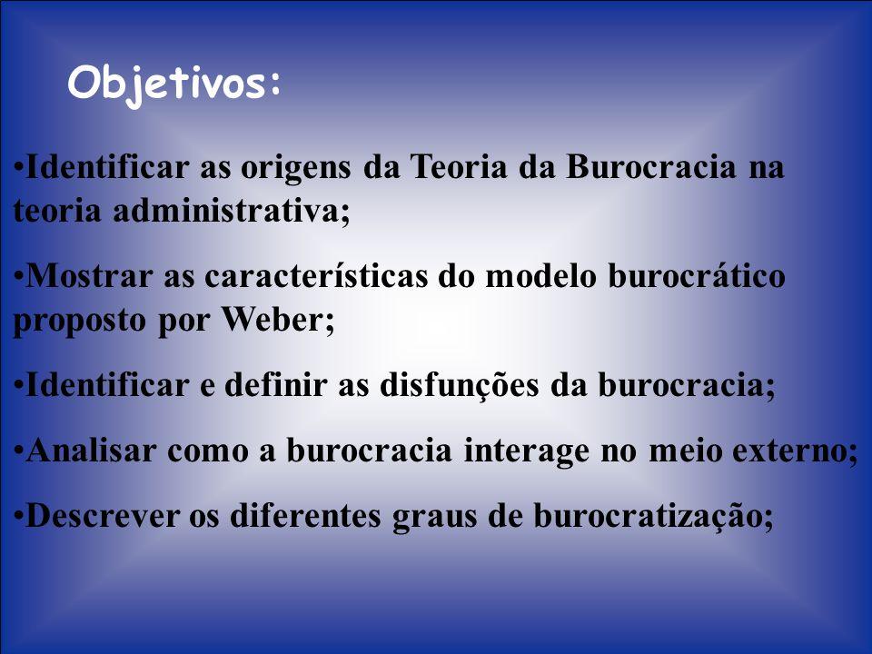 Objetivos: Identificar as origens da Teoria da Burocracia na teoria administrativa;