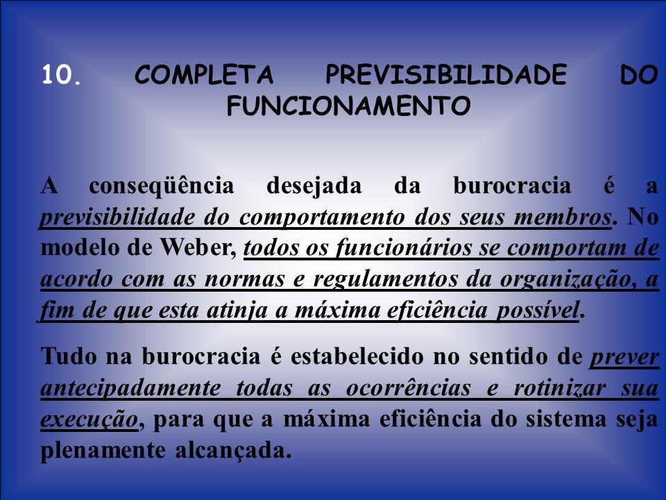 10. COMPLETA PREVISIBILIDADE DO FUNCIONAMENTO