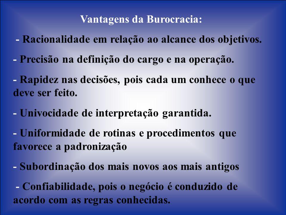 Vantagens da Burocracia: