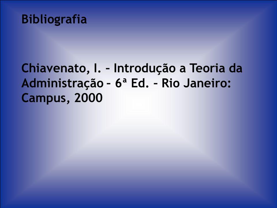 Bibliografia Chiavenato, I. – Introdução a Teoria da Administração – 6ª Ed.