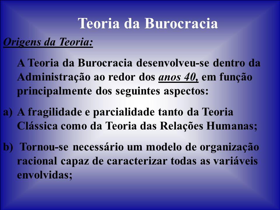 Teoria da Burocracia Origens da Teoria: