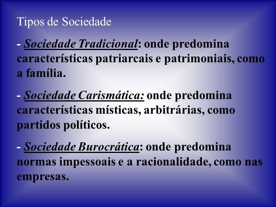 Tipos de Sociedade - Sociedade Tradicional: onde predomina características patriarcais e patrimoniais, como a família.