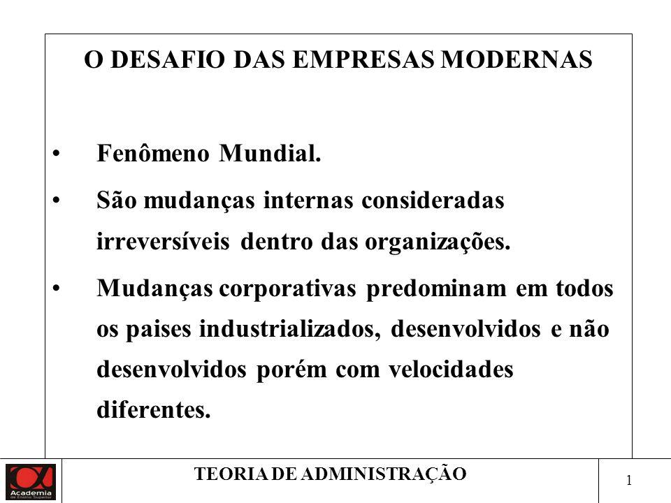 O DESAFIO DAS EMPRESAS MODERNAS TEORIA DE ADMINISTRAÇÃO