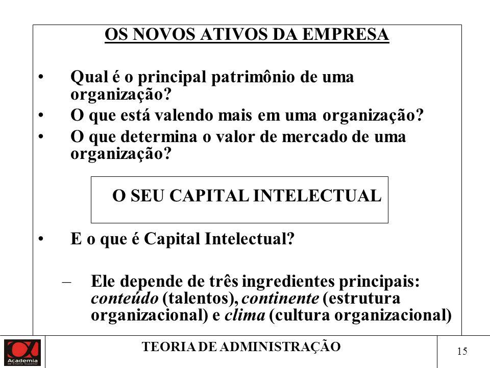 OS NOVOS ATIVOS DA EMPRESA O SEU CAPITAL INTELECTUAL