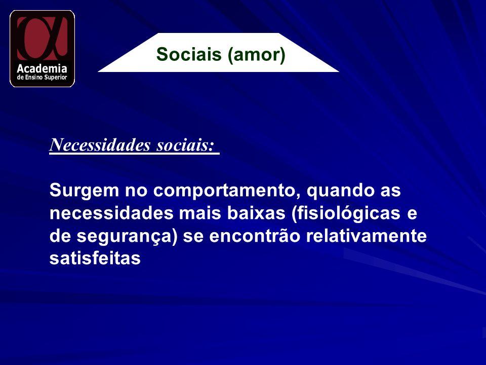 Sociais (amor) Necessidades sociais: Surgem no comportamento, quando as. necessidades mais baixas (fisiológicas e.