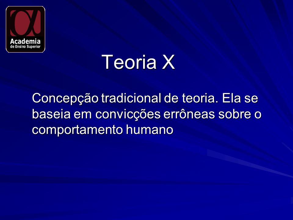 Teoria X Concepção tradicional de teoria.