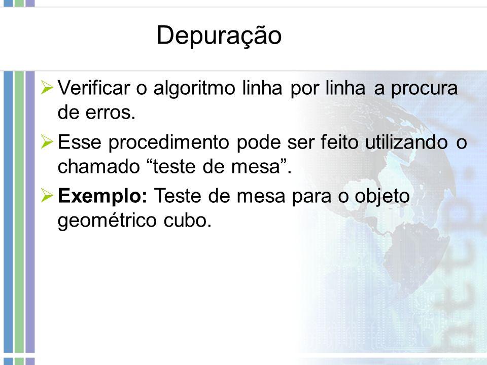 Depuração Verificar o algoritmo linha por linha a procura de erros.