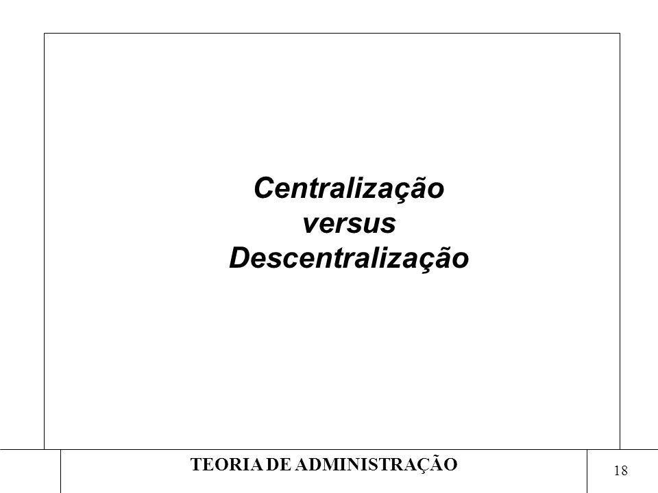 Centralização versus Descentralização