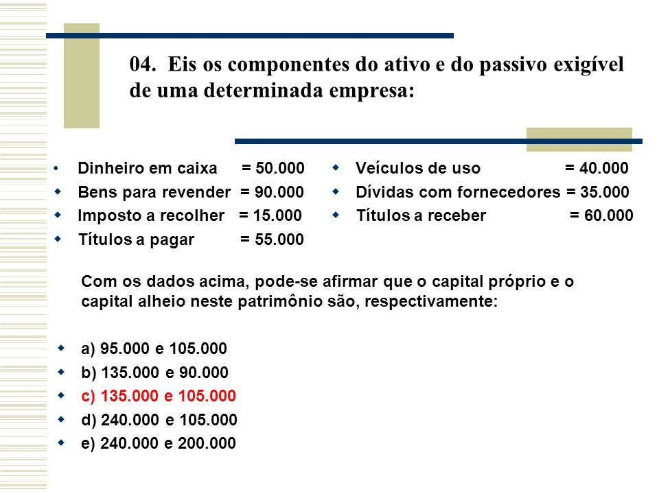 04. Eis os componentes do ativo e do passivo exigível de uma determinada empresa: