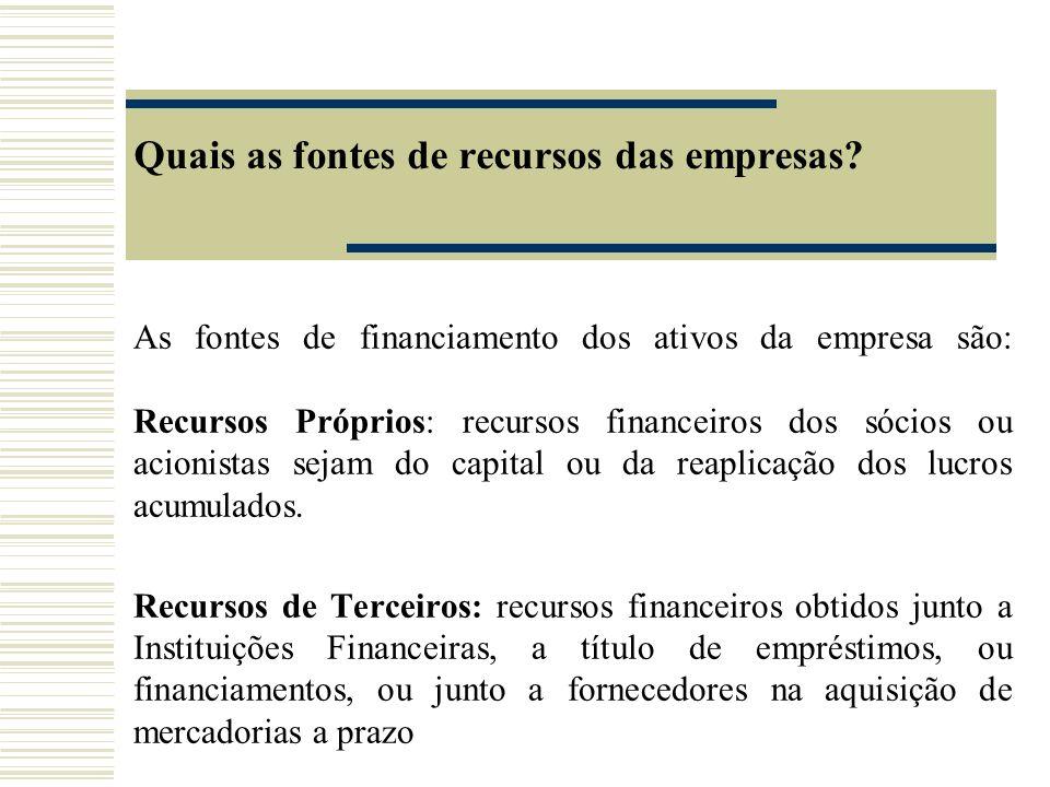 Quais as fontes de recursos das empresas