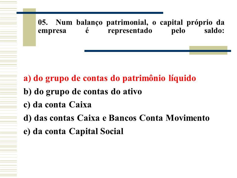 a) do grupo de contas do patrimônio líquido