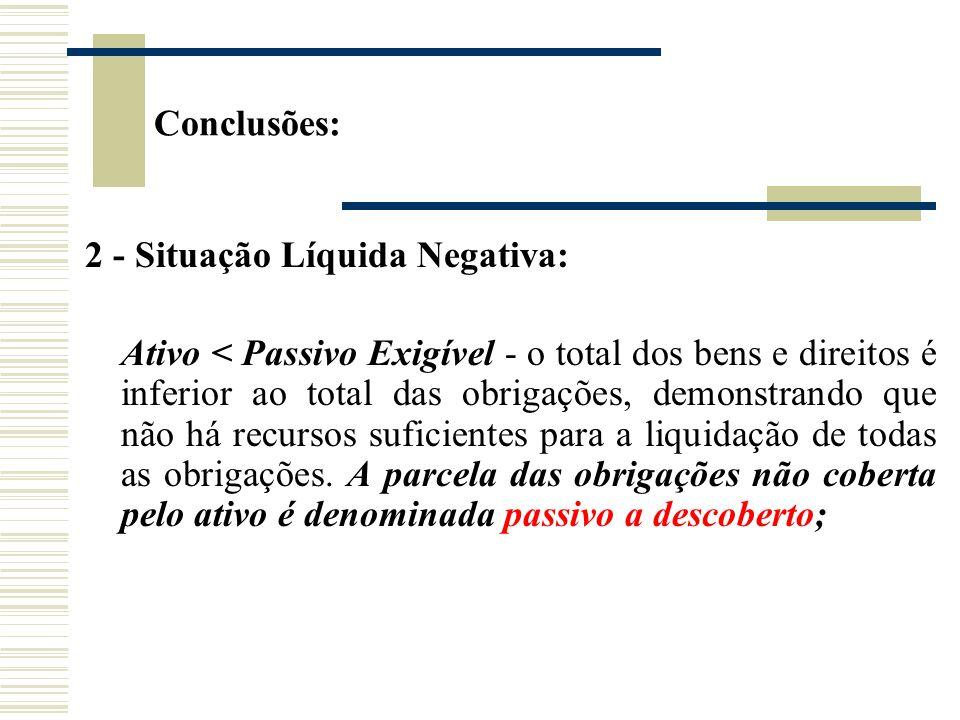Conclusões:2 - Situação Líquida Negativa:
